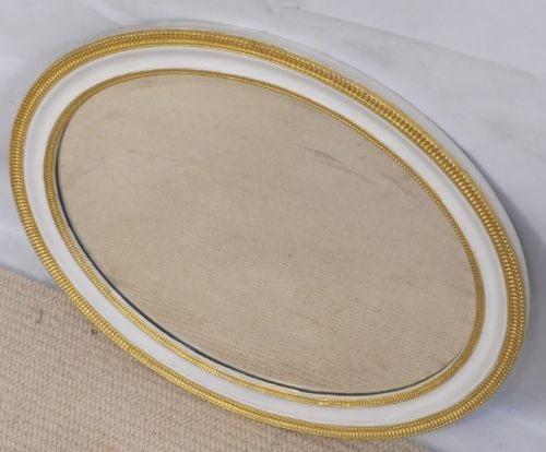 SOLD - Oval Wall Mirror Paint and Gilt Decoration